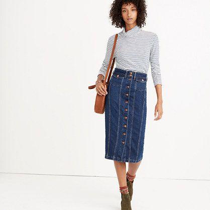With top-stitched seams and flap pockets, this lean denim skirt gives a nod to the classic jean jacket. Leave a few buttons undone for an after-5pm look. <ul><li>Premium 98% cotton/2% elastane denim from Italy's renowned Candiani mill.</li><li>Deep indigo wash with a subtle worn-in look.</li><li>Copper hardware, contrast stitching.</li><li>Pencil skirt.</li><li>Machine wash.</li><li>Impor...