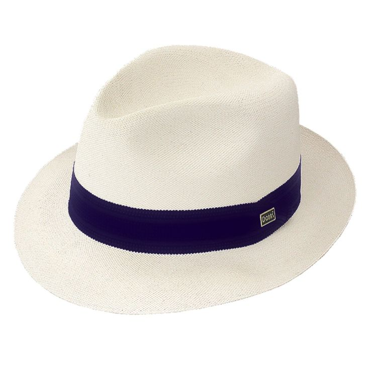 """Dobbs Center Dent - Straw Fedora Hat $91.98   The Center Dent, from the Dobbs Shantung Collection of straw hats, features a 2 1/8"""" brim and a pinch dent crown. A smooth solid fabric band with a Dobbs insignia hatpin adorning this hat. Includes a leather sweatband. Made in the USA."""