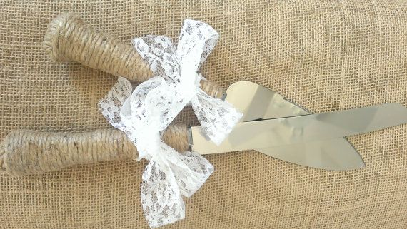 Wedding Twine Burlap Lace Bow Jute Cake Serving Set Knife Southern Shabby Chic Rustic Country on Etsy, $27.00