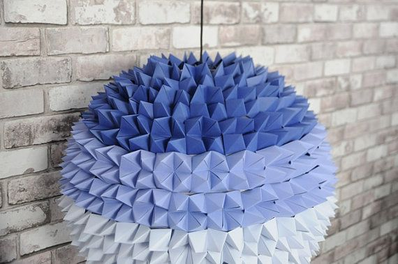Blue Ombre Origami Pendant Lamp by SilkandSpoon on Etsy, €199.00