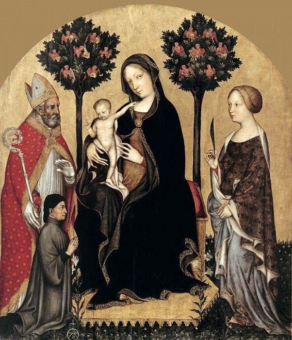 Джентиле да Фабриано (ок1370-1427) - Мадонна с Младенцем на троне со святыми.