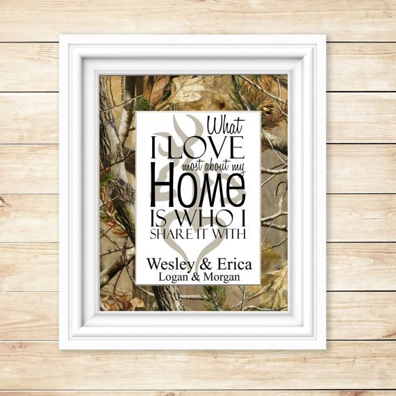This adorable camo print will make a great house warming or wedding gift for anyone with a camo, rustic or country theme home decor. This Realtree mat measures 8x10 with an opening for the 5x7 personalized print. The print is done on a premium glossy Epson photo paper. A backing