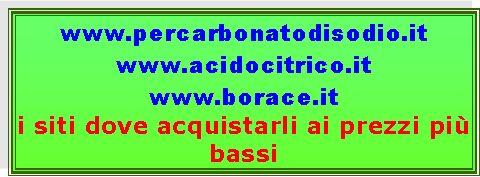 Casella di testo: www.percarbonatodisodio.it www.acidocitrico.it www.borace.it i siti dove acquistarli ai prezzi più bassi