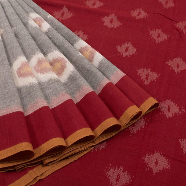 Sarveshi Handwoven Grey & Red Ikat Cotton Saree 10007253 - AVISHYA