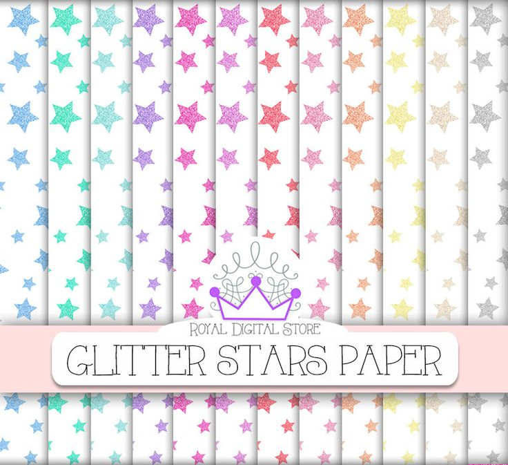 "Glitter Stars Digital Paper: "" Glitter Stars Digital Paper"" with glitter stars background in pastel colors, colorful glitter stars #partysupplies #rainbow #planner #pink #scrapbookpaper #digitalpaper"