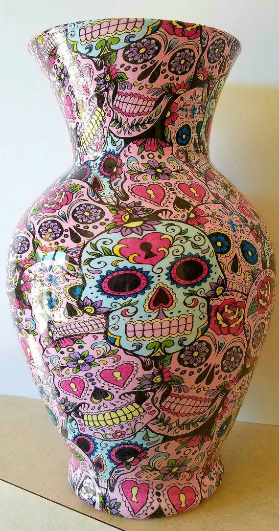 Custom Vase Hydro Dipped in Sugar Skulls pattern  14 each                                                                                                                                                                                 More