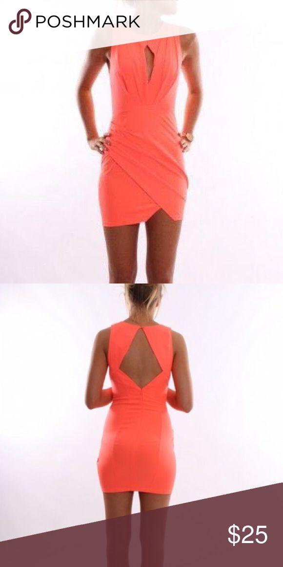 Jean Jail Goddess Dress Coral bodycon dress with open back and keyhole. Australian fashion brand Jean Jail Dresses Mini