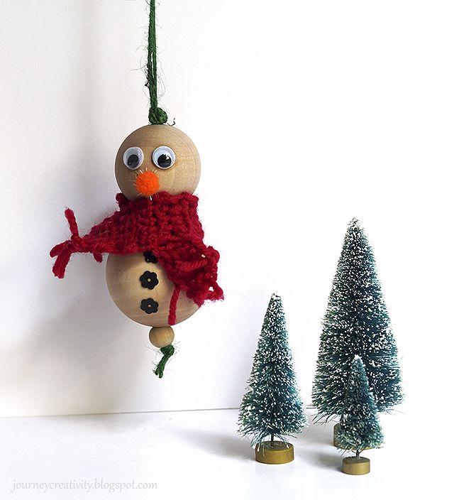 Journey into Creativity: Wood beads snowman