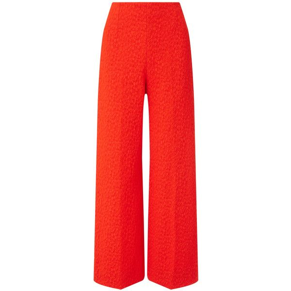 Roland Mouret Preston Trouser (9.495 ARS) ❤ liked on Polyvore featuring pants, tailored, wide leg trousers, red stretch pants, roland mouret, wide leg cropped trousers and stretch pants