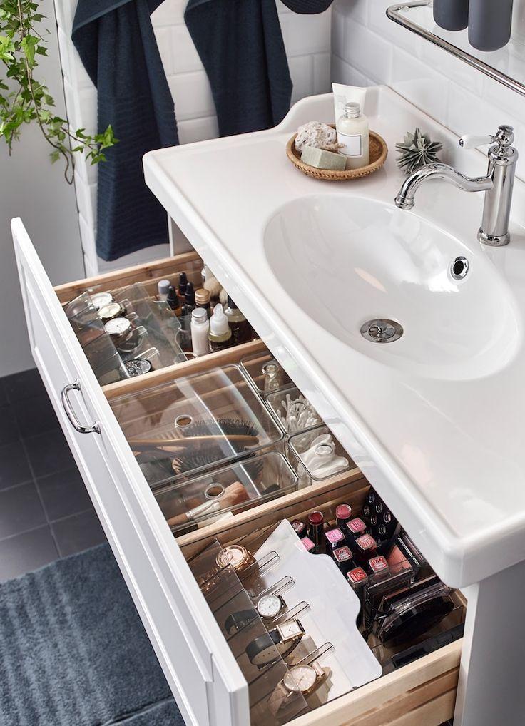 A romantic, relaxing washroom - IKEA Bathroom Drawer Organization, Bathroom Organisation, Makeup Organization, Room Organization, Bathroom Makeup Storage, Organized Bathroom, Organize Bathroom Drawers, Hair Product Organization, Bathroom Organization