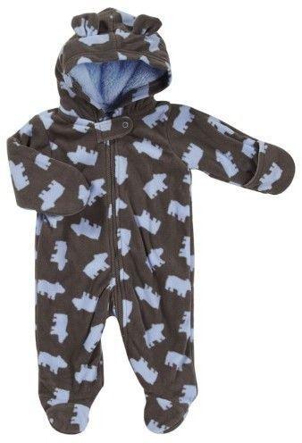 d46f6ce37525 Carter s Infant Boys Fleece Bear Cub Pram Baby Bunting Snowsuit ...
