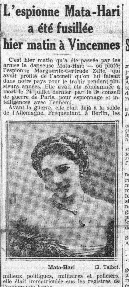 The many faces of a spy. The death of Mata Hari in French newspapers.: