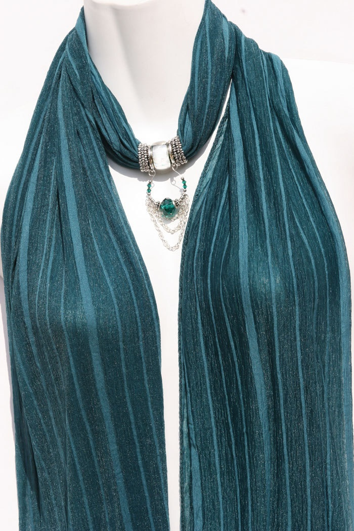 Pendant Scarf Necklace Scarves Teal Green Scarf With Jewelry. $24.00, via Etsy.