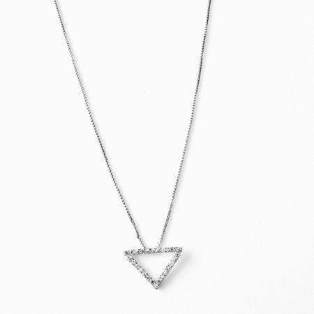 Brinco folheado a prata com triângulo em strass - Minimalista