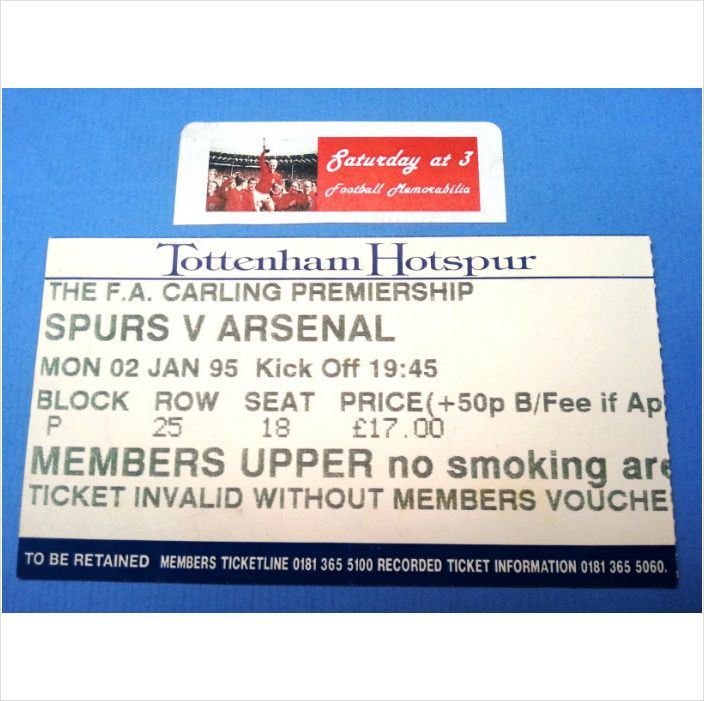 Tottenham Hotspur v Arsenal Football Ticket Stub 02/01/1995 Premiership League