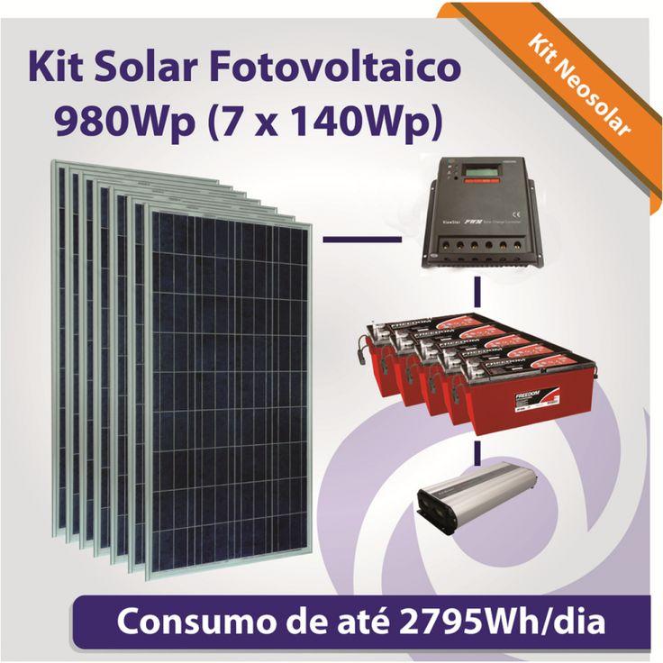 Kit Solar Fotovoltaico 980Wp (7x 140Wp)