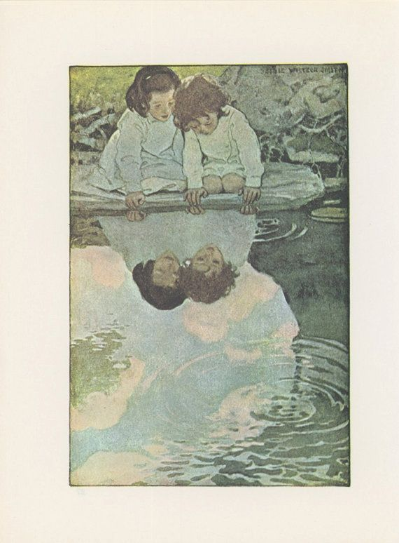 Child's Garden Of Verses, Sisters Friends Look At Reflection In Pool, Illustrated By Jessie Willcox Smith, USA, Antique Children Print