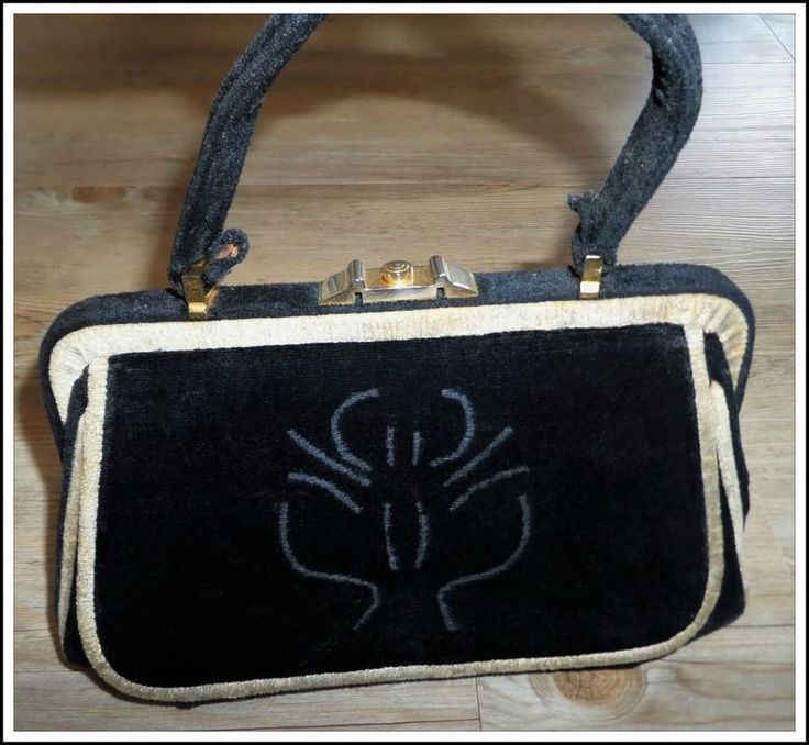 VINTAGE 50s BEGHE CREATION BLACK beige VELVET HANDBAG bag LEATHER INTERIOR xcond