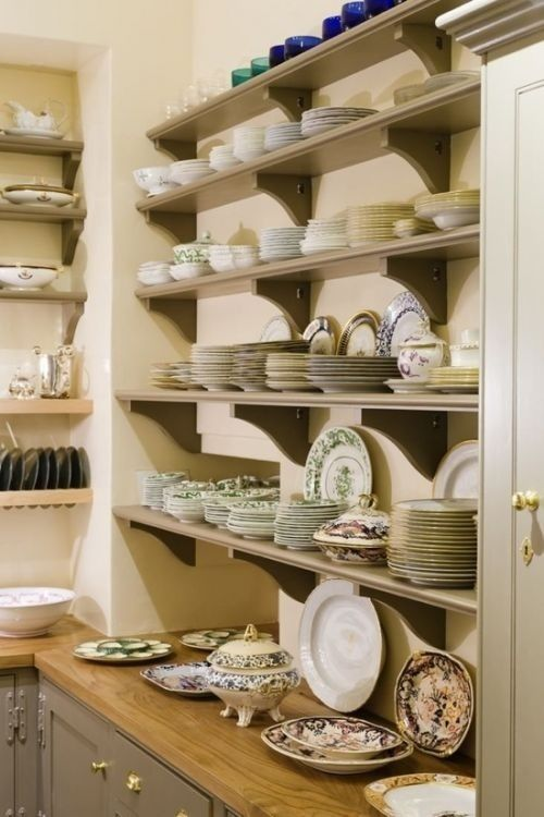 Open shelving in butler's pantry...maybe with iron-styled brackets to go with the Italian theme