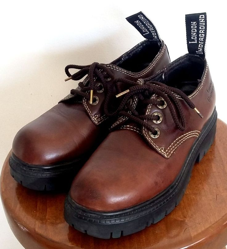 LONDON UNDERGROUND Shoes ~ Women's Brown Lug Sole Oxfords ~ US Sz. 7.5 M #LondonUnderground #Oxfords