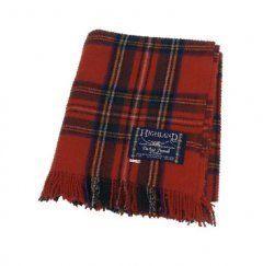 100% Scottish Wool Tartan Rug – Royal Stewart Picnic Blanket