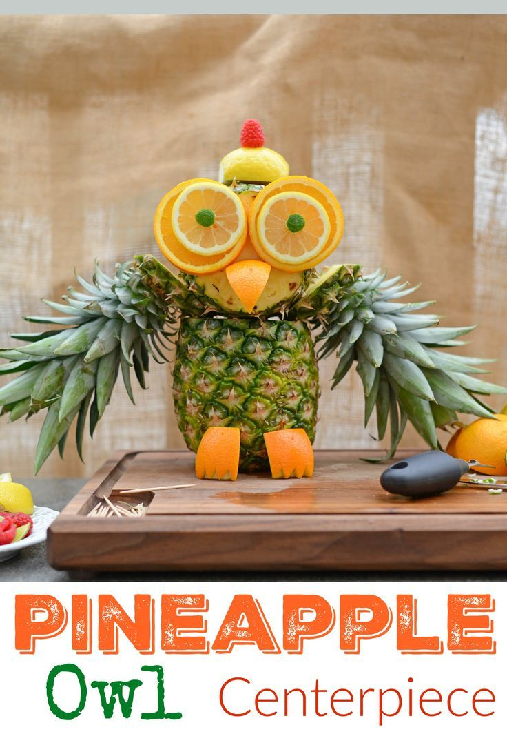 """Pineapple Owl Fruit Sculpture- take melon craving to a whole new level with this cute fruit animal owl. This fruit carving idea only takes 15 minutes and is super easy, without much actual """"carving"""" at all. Plus, pineapple recipes so your pineapple owl doesn't go to waste. www.savoryexperiments.com"""