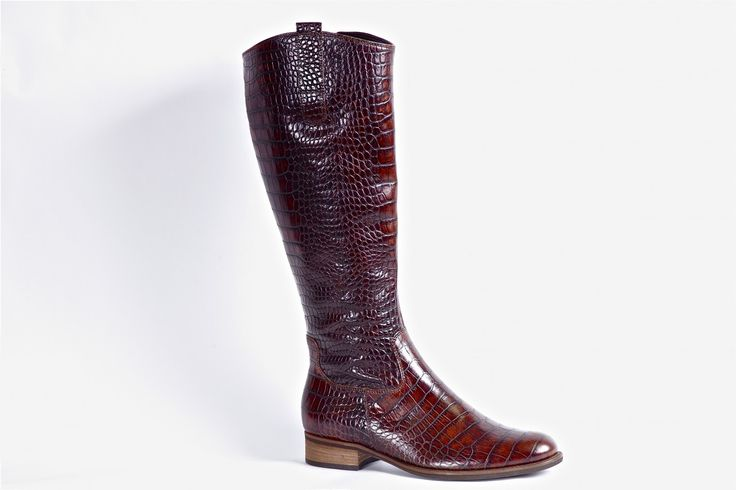 Brown Croco by Gabor: Tall boot from Gabor with a stamped croco pattern. Very rich colour with a fresh and unique upper treatment.  Inside zipper for easy on/off.  Breathable linings makes this a great indoor/outdoor boot.  http://millershoes.com/shop/casual/brown-croco/