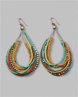 Simple beaded earrings - great idea for leftover seed beads/odds and ends of other beads