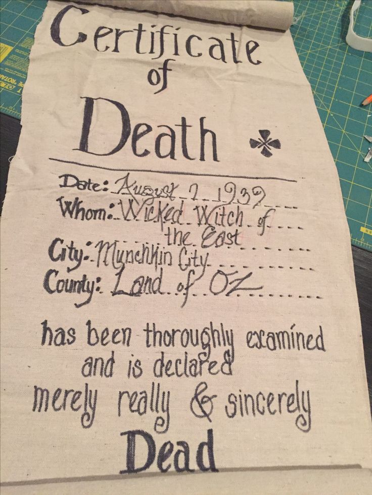 Coroner's certificate of death for Wizard of Oz school play. Left over fabric, pipe and sharpie.