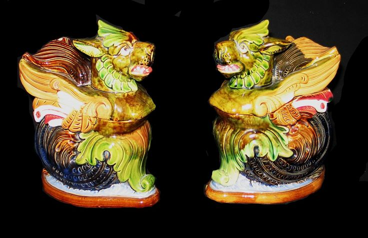 Pair of figural humidors, Griffins, Majolica, Germany CA 1880 available from  PORTOBELLO ANTIQUES
