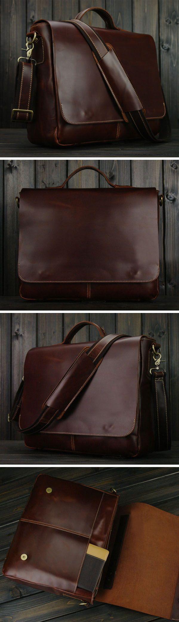 "Handmade Genuine Leather Briefcase Messenger Bag 13"" 14"" 15"" Laptop 13"" 15"" MacBook Bag red wine"