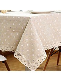 """SiYANG"""" Cotton And Hemp, Machine Washable, Dinner, Summer & Picnic Tablecloth, Available In Various Sizes(Beige,35.4x35.4In)"""