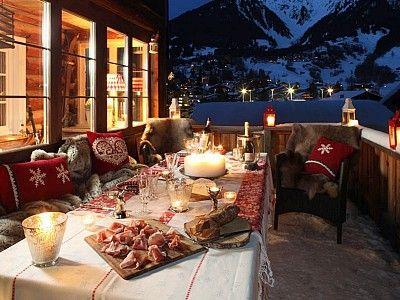 Klosters chalet rental - Outdoor feasting