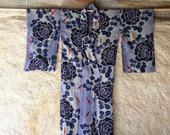 Vintage Japanse kimono met grote blauwe bloemen | maat M