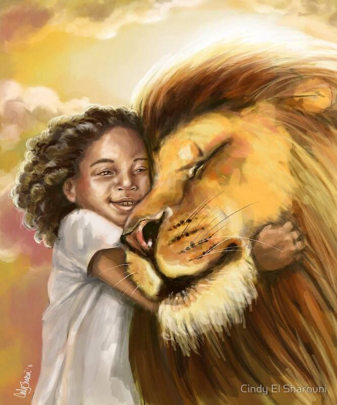 Lion of Judah hugging little girl. I love this prophetic Art painting! Makes me smile every time  I see it!