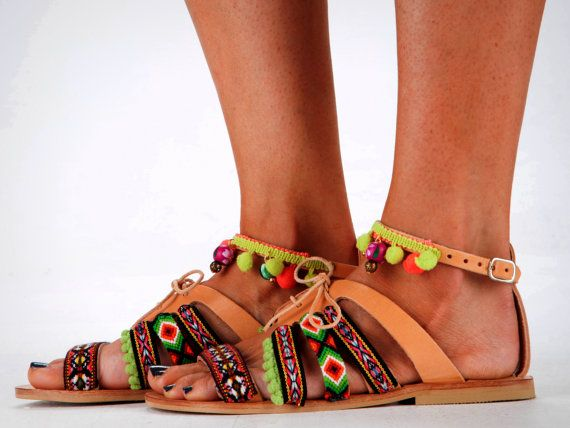 "Leather Sandals, Handmade Sandals, Mexican Style Sandals ""Mezcalita"""