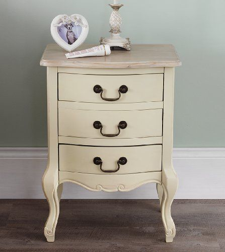 From 114.99 Juliette Shabby Chic Champagne 3 Drawer Bedside Table. French Cream Bedside Cabinet With Limed Finish Top. Fully Assembled