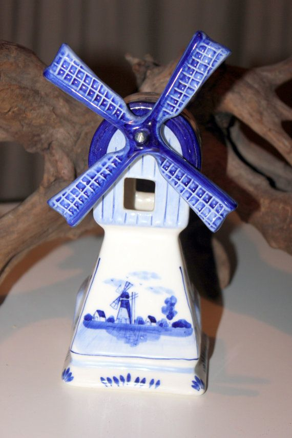 Vintage Handpainted Blue Delft Windmill Candle Holder