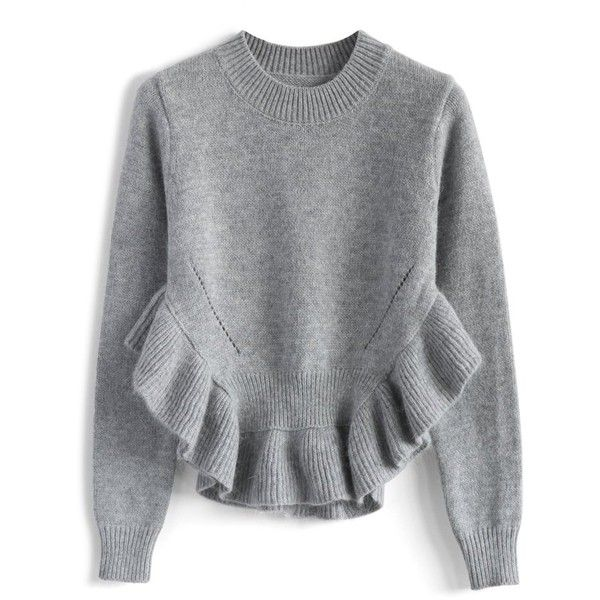 Chicwish Adorable Frilling Hemline Sweater in Grey (€47) ❤ liked on Polyvore featuring tops, sweaters, grey, flounce tops, cutout sweater, ruffle hem top, flutter top e cut out sweater