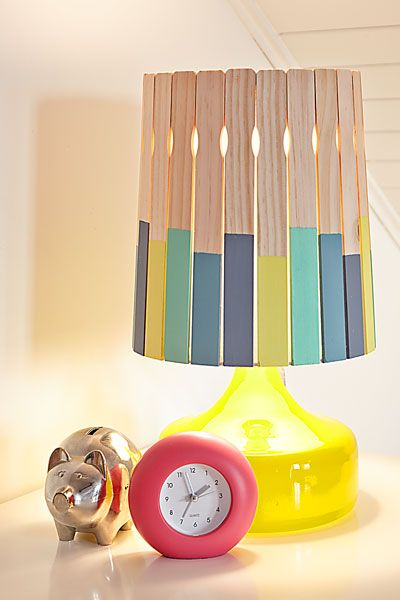 For a touch of whimsy in a crafts space or kid's room, glue paint-coated stirrers to an inexpensive drum shade.|  Photo: Wendell T. Webber | thisoldhouse.com