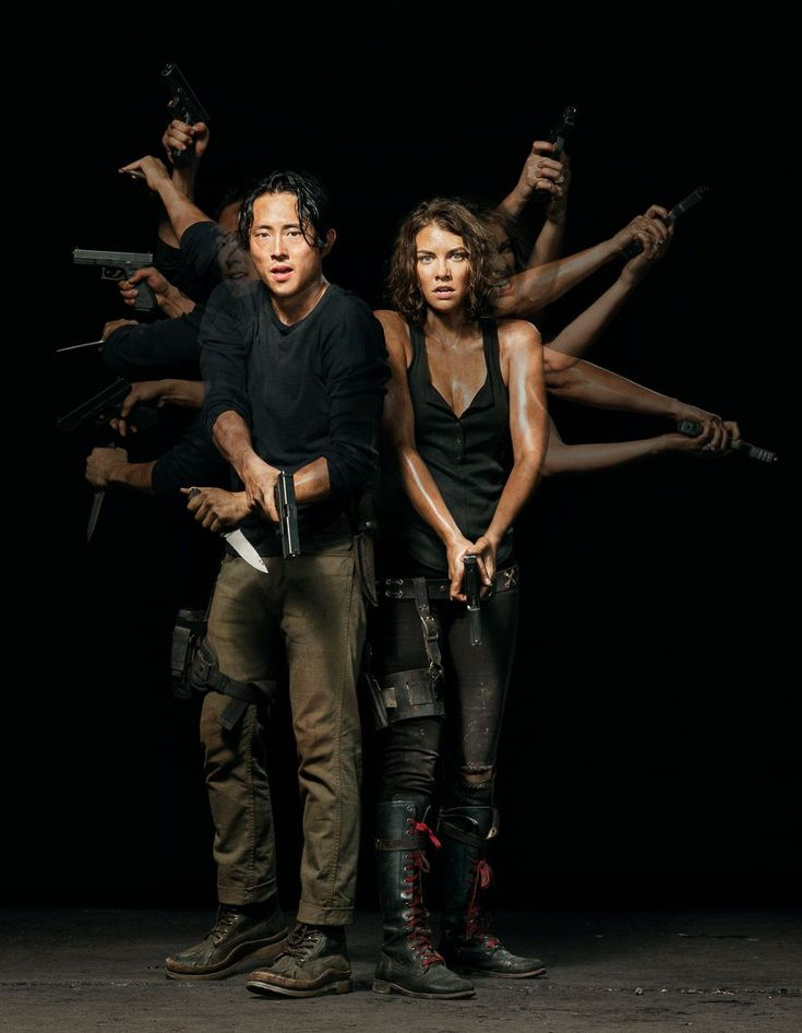"Steven Yeun & Lauren Cohan as Glenn & Maggie in ""The Walking Dead"": Season Five."