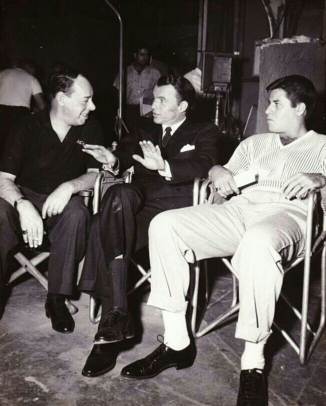 """Frank with Joe E. Lewis and Jerry Lewis on the set of """"The Joker is Wild."""""""