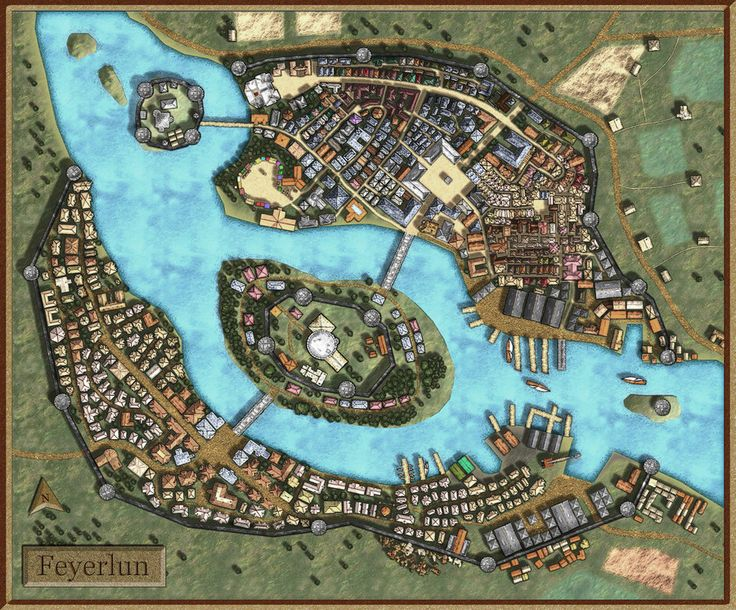 Feyerlun-Fantasy City Map by AvalPenworth.deviantart.com on @deviantART