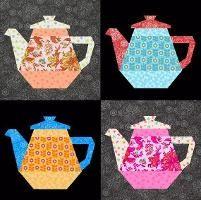Quilting: Tea Pot paper pieced block: Pieces Blocks, Quilts Patterns, Flowers Patterns, Paper Pieces, Teas Pots, Blocks Teapots, Quilts Blocks Patterns, Teapots Quilts, Pots Paper