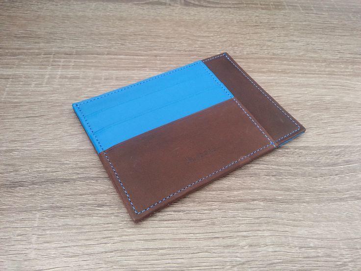 Portefeuille homme Hurbane - Cuir brun et bleu