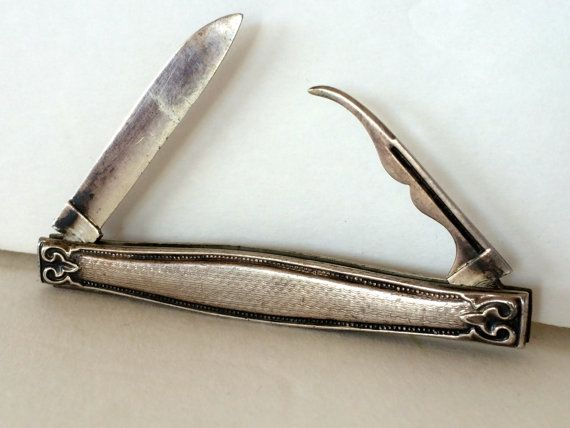 Antique Silver Pocket Knife Sterling Silver Pen by TizaVintage