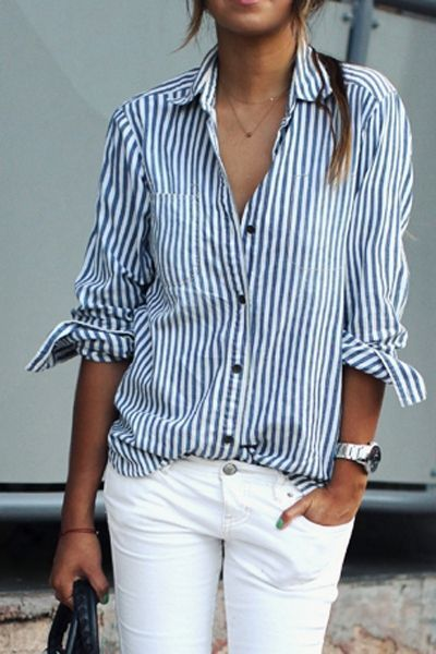 Blue White Stripes Long Sleeve Shirt BLUE AND WHITE: Blouses | ZAFUL