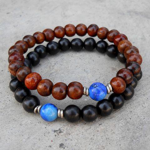 compassion, wood, genuine ebony, and lapis lazuli guru bead mala bracelet set