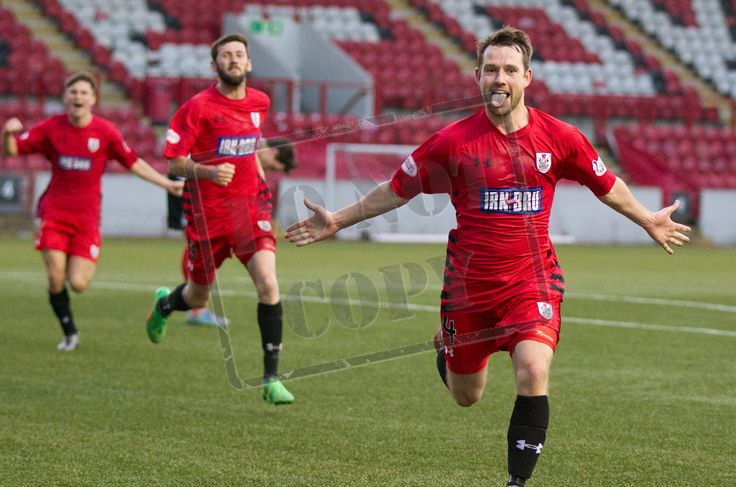 Queen's Park's Vinnie Berry celebrates his goal during the SPFL League One play-off game between Clyde and Queen's Park.