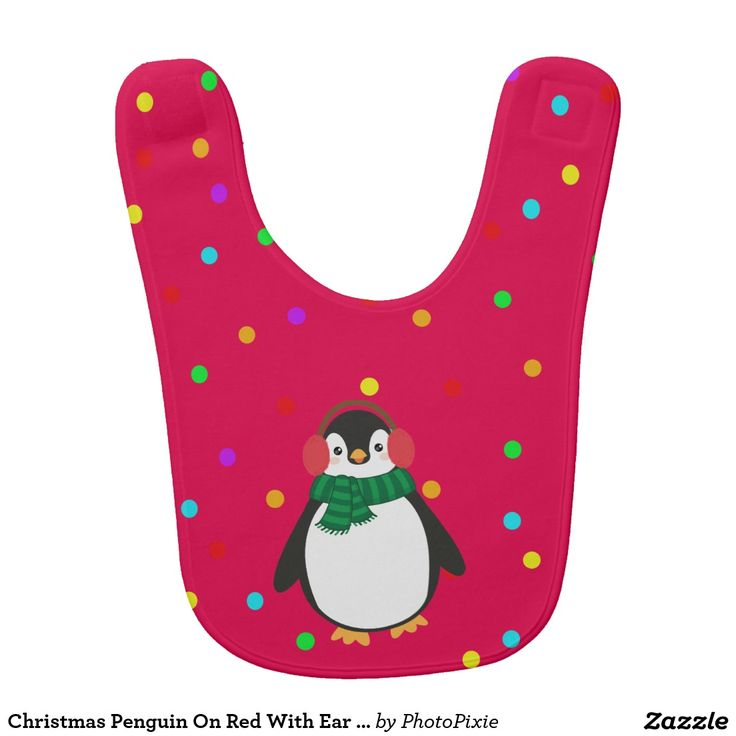 Christmas Penguin On Red With Ear Muffs Bib